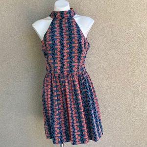 Geometric Print Cut Out Back Skater Mini Dress